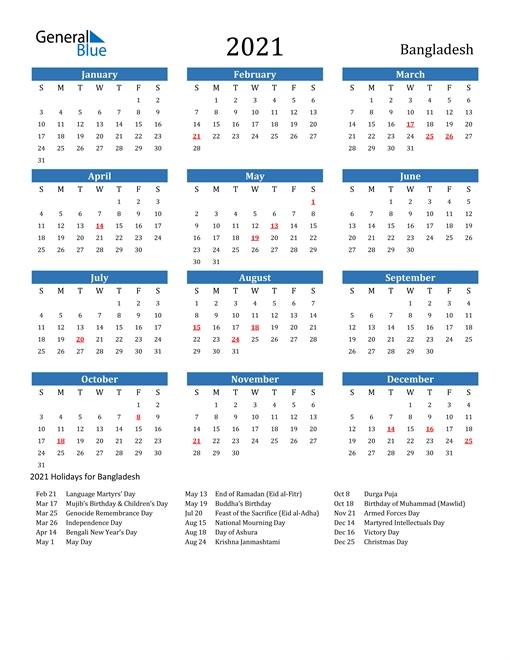 2021 Calendar - Bangladesh With Holidays | Excel Calendar Template, Calendar Template, Calendar within Bangladesh 2021 Government Calendar