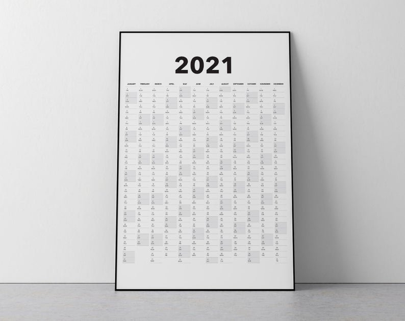 2021 Calendar Blank Vertical Yearly View Extra Large Wall   Etsy for Page By Page Large Wall Calendars 2021 Image