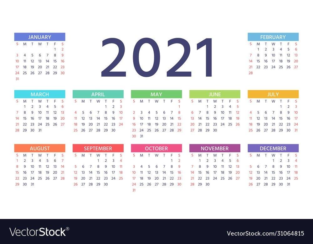 2021 Calendar Color Template Year Planner Vector Image regarding Printable Calendars For 2021 Graphics