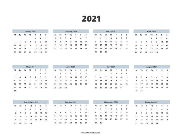 2021 Calendar - Free Printable - Allfreeprintable regarding 2021 Calendar With Date Boxes Photo