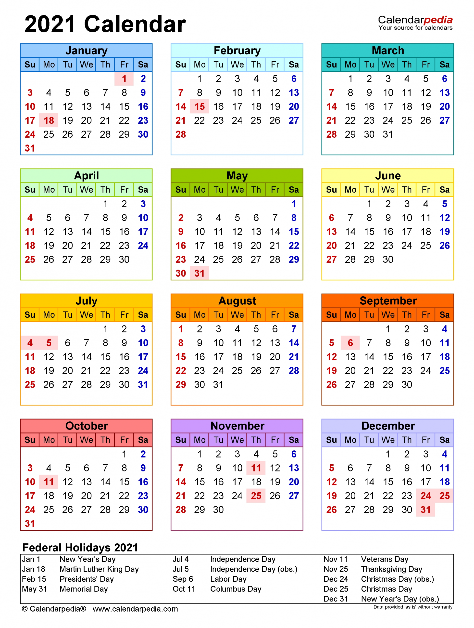 2021 Calendar - Free Printable Excel Templates - Calendarpedia for Three Year Calendar 2019 2021 2021 Calendar Pedia