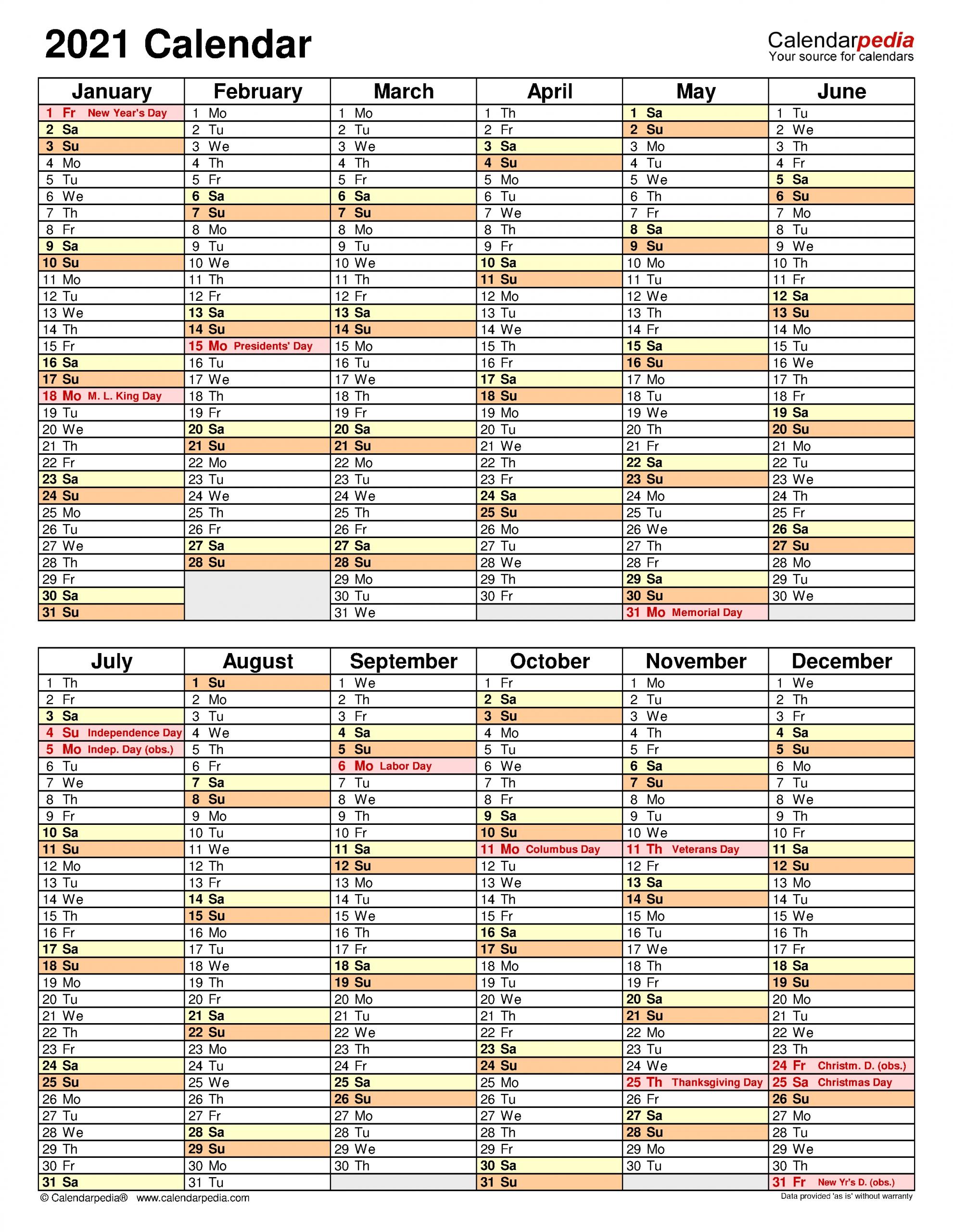 2021 Calendar - Free Printable Excel Templates - Calendarpedia with regard to Printable Calendars For 2021 Graphics