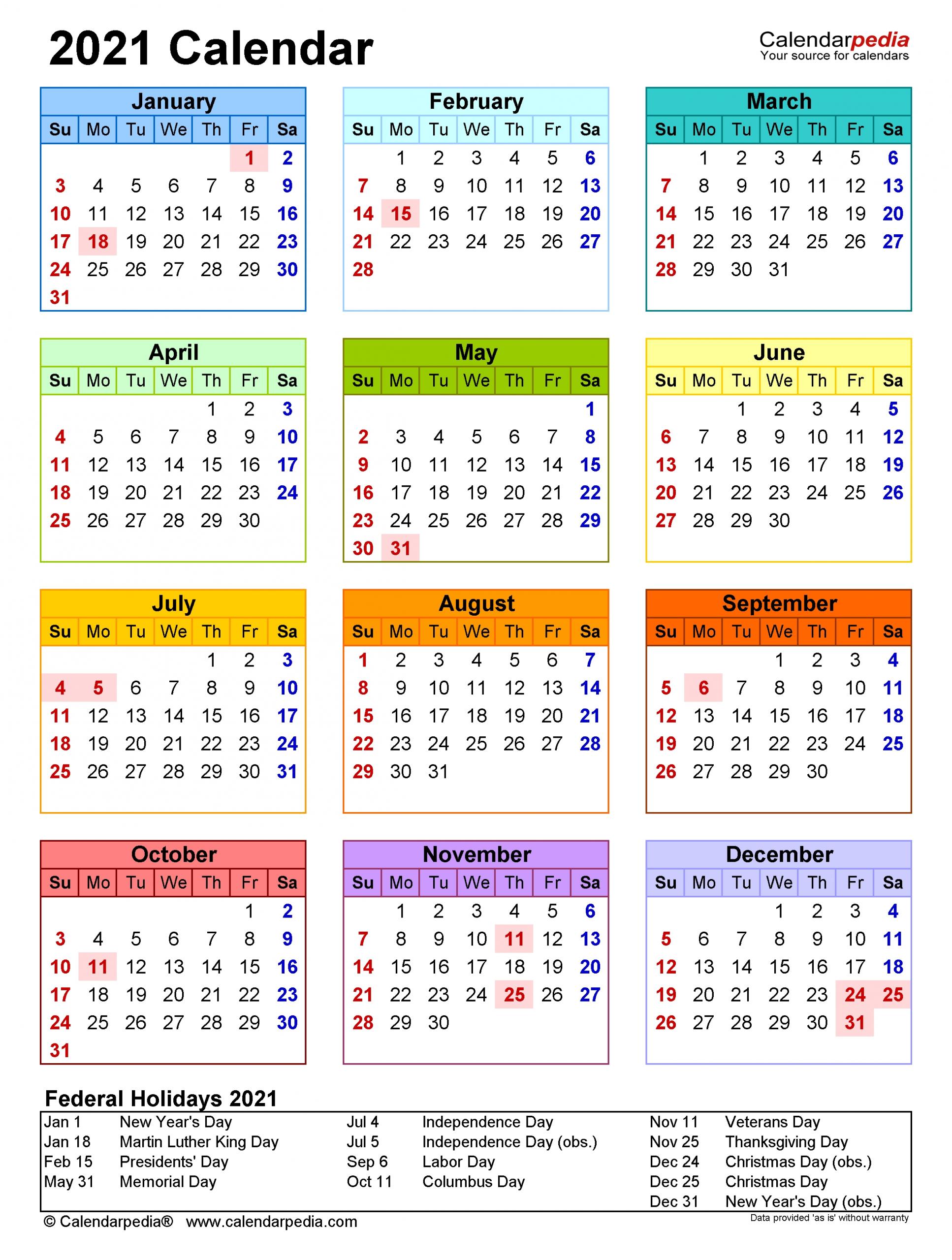 2021 Calendar Holidays And Observances | Printable Calendars 2021 throughout Printable Calendars For 2021