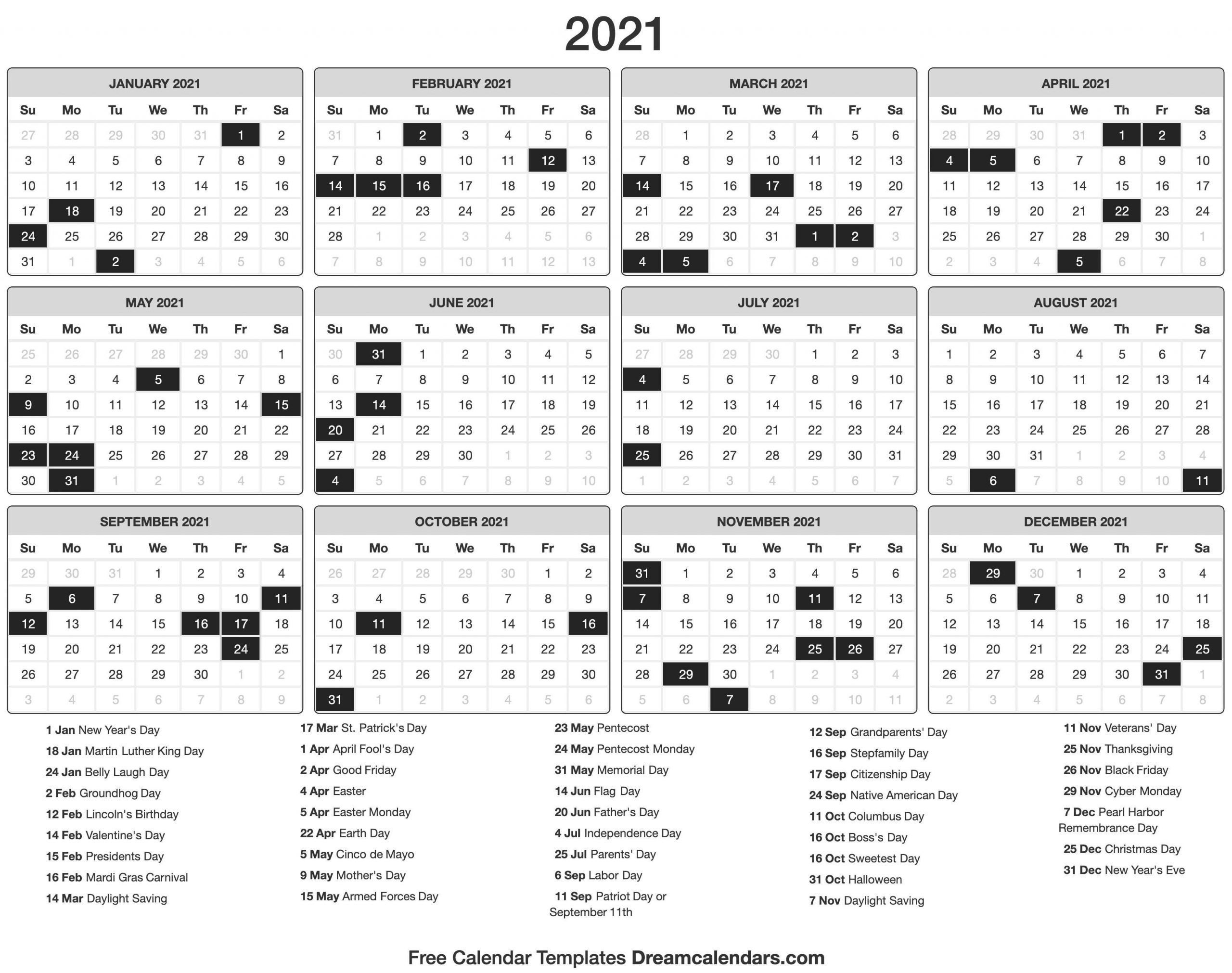 2021 Calendar intended for 2021 Calendar With Date Boxes Photo