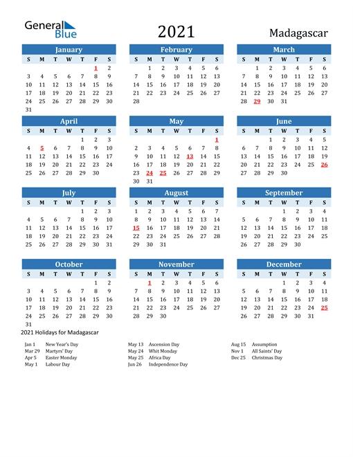 2021 Calendar - Madagascar With Holidays for 12 Month Editable Calendar 2021 Photo