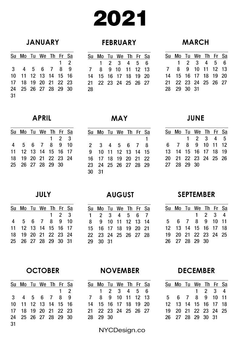 2021 Calendar Pdf - Printable, White, Ss - Nycdesign.co   Calendars Printable Free in Calendar 2019 2021 2021 Printable Free Photo