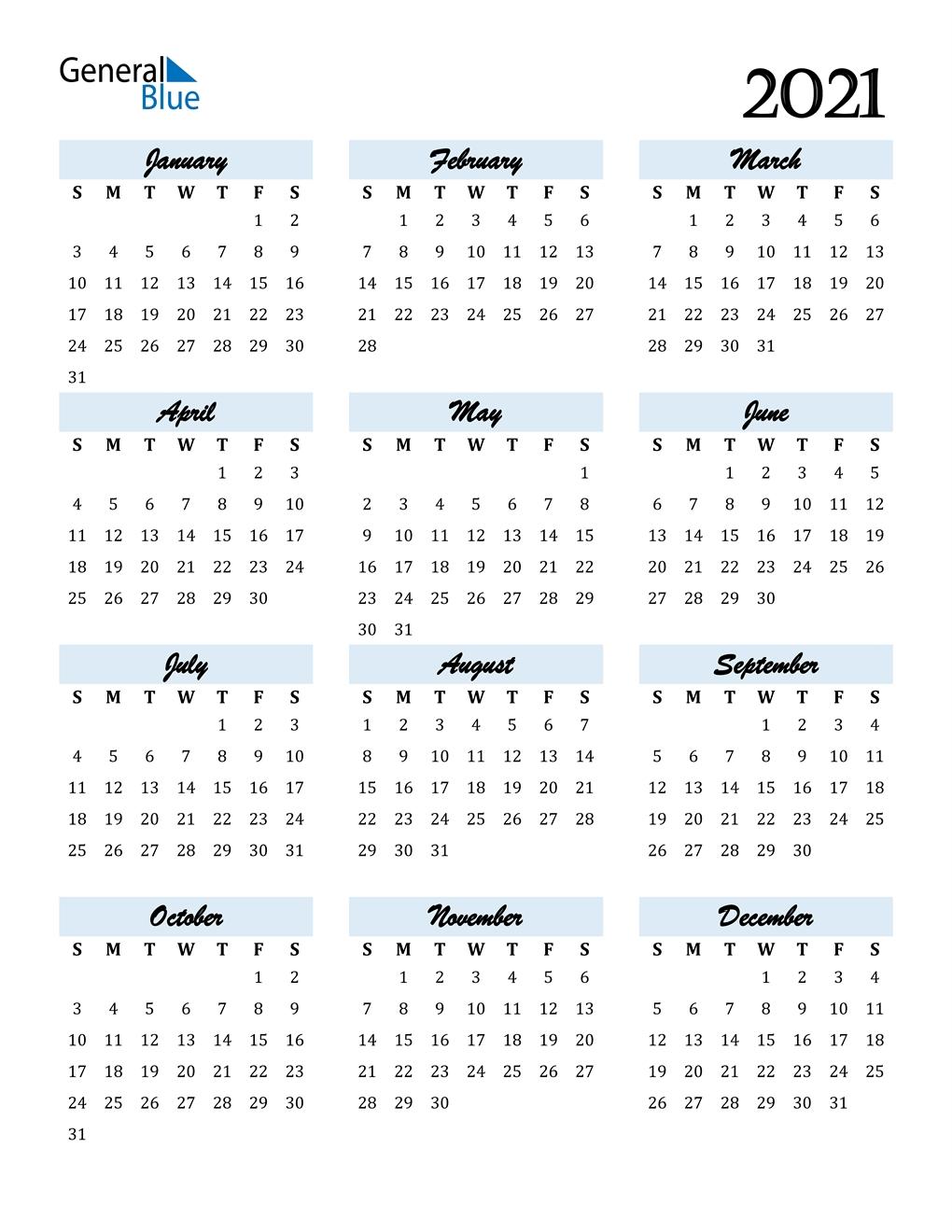 2021 Calendar (Pdf, Word, Excel) for Print Calendar 2021 In Excel
