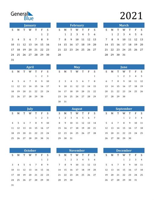 2021 Calendar (Pdf, Word, Excel) pertaining to 2021 Calendar Template Editable Image