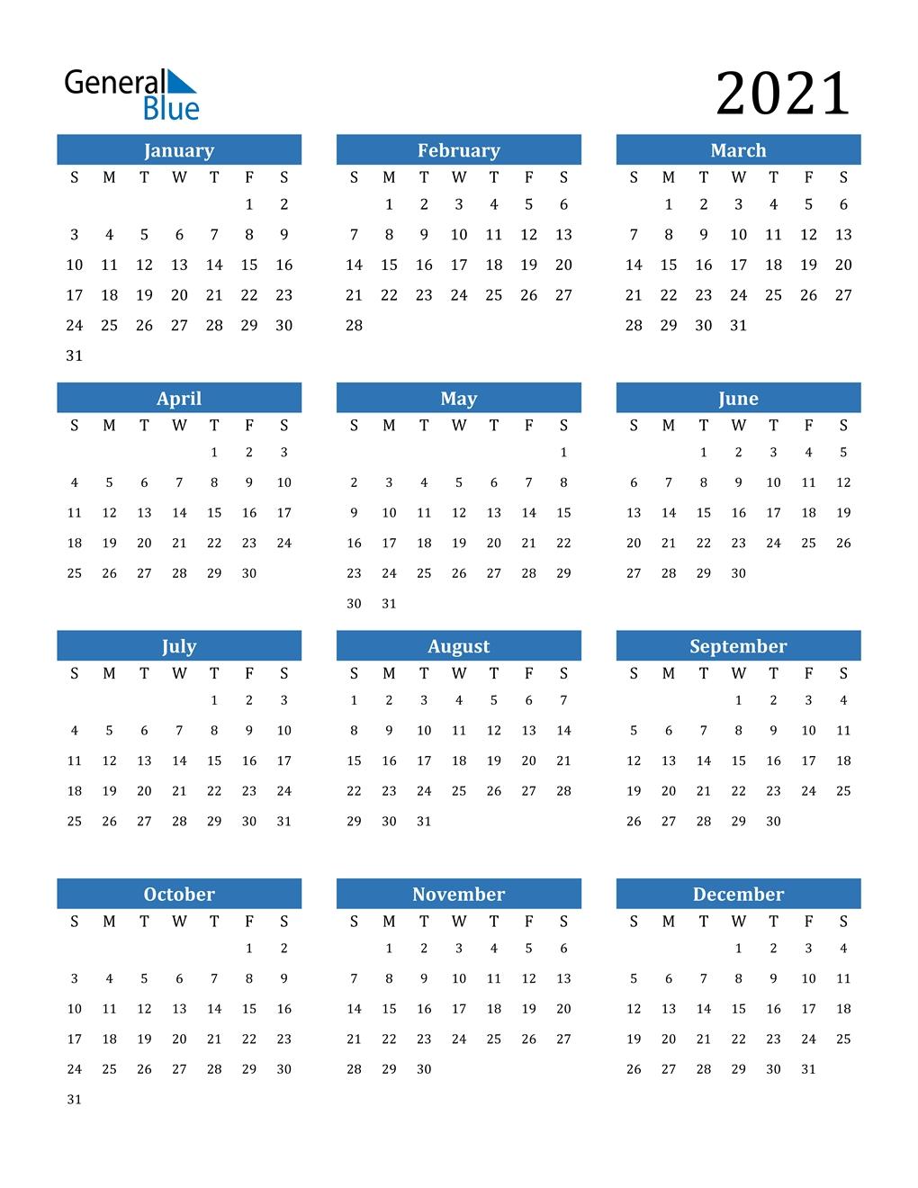2021 Calendar (Pdf, Word, Excel) regarding 2021 Calendar With Date Boxes