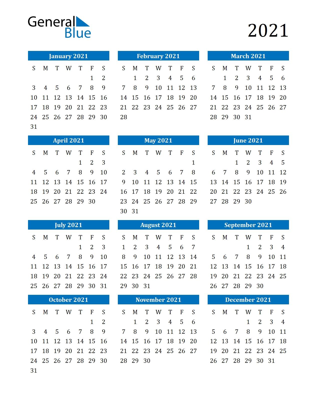 2021 Calendar (Pdf, Word, Excel) regarding 2021 To 2025 Calendar