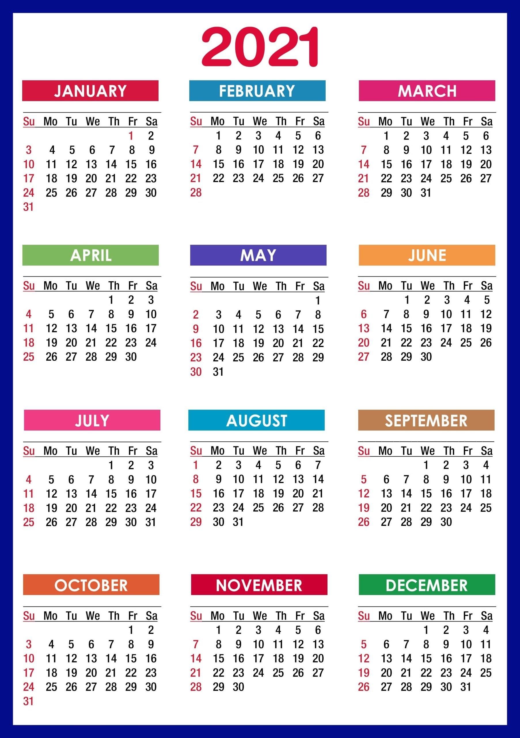 2021 Calendar Printable   12 Months All In One   Calendar 2021 with regard to Calendar 2021 Design In Illustrator