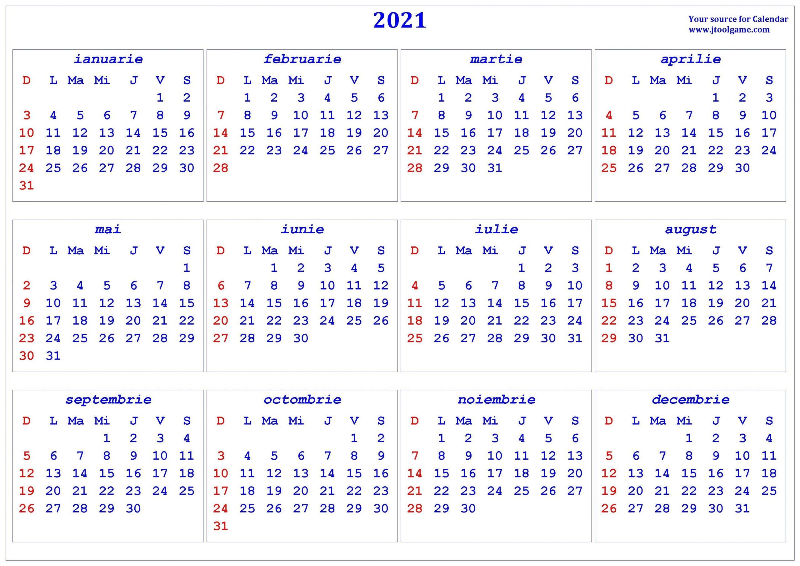 2021 Calendar - Printable Calendar With Romania Holidays throughout Calendar Romania Zile Libere 2021 Image