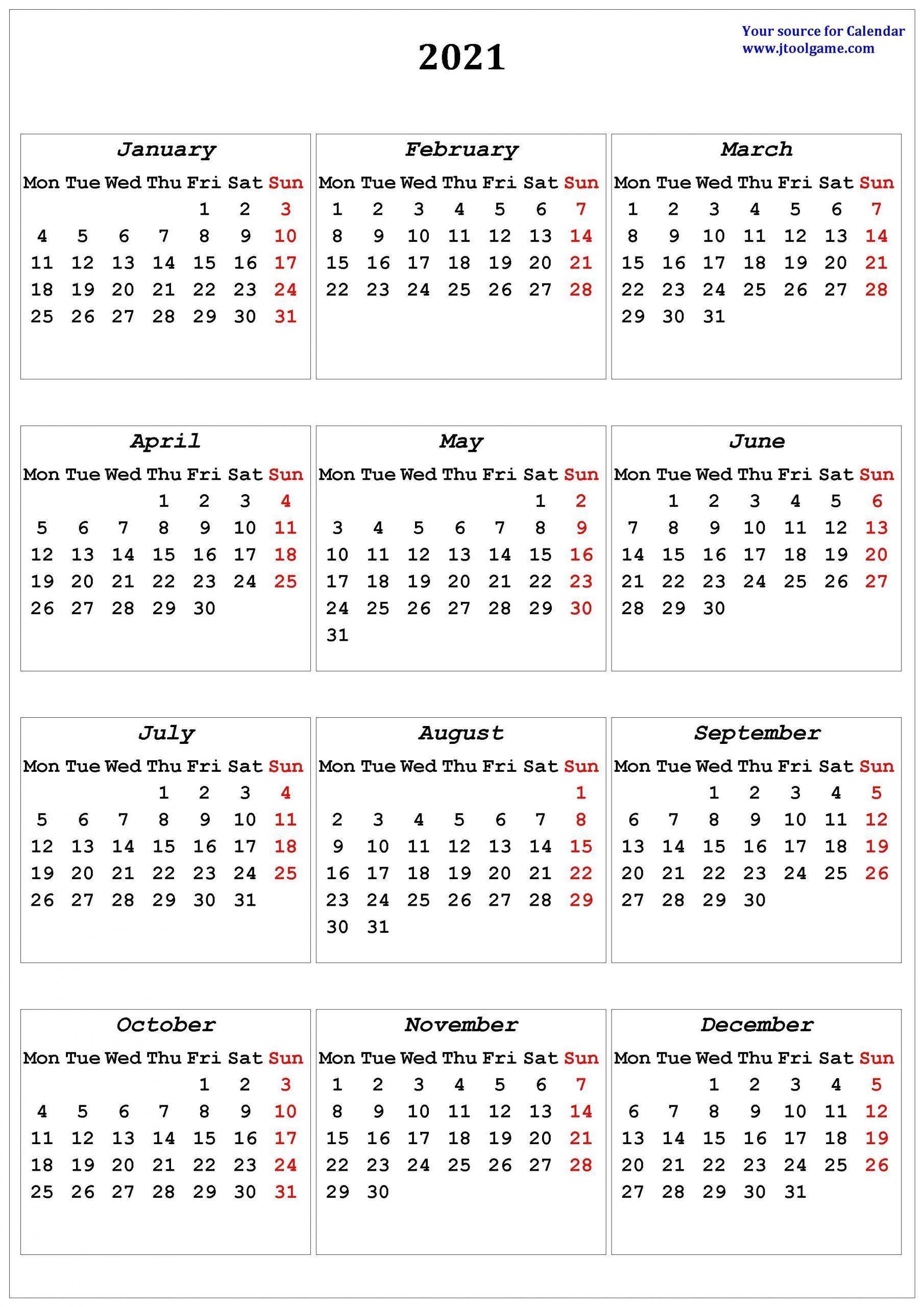 2021 Calendar - Printable Calendar With Usa Holidays with regard to 2021 Portrait Calendar Printable Graphics