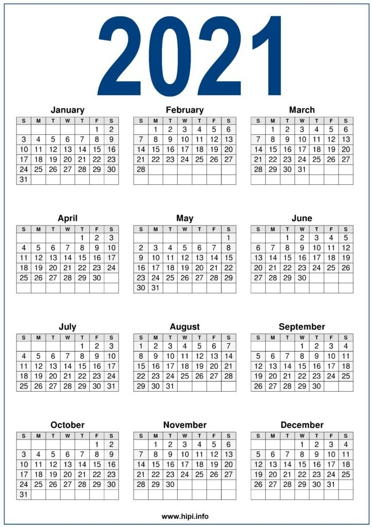 2021 Calendar Printable Free - Free Download - Hipi | Calendars Printable Free throughout 2021 Calendar Printable Free Image