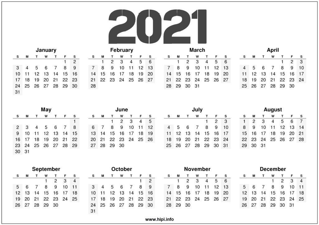 2021 Calendar Printable Free - Free Download - Hipi inside One Page 2021 Calendar Printable Images Graphics
