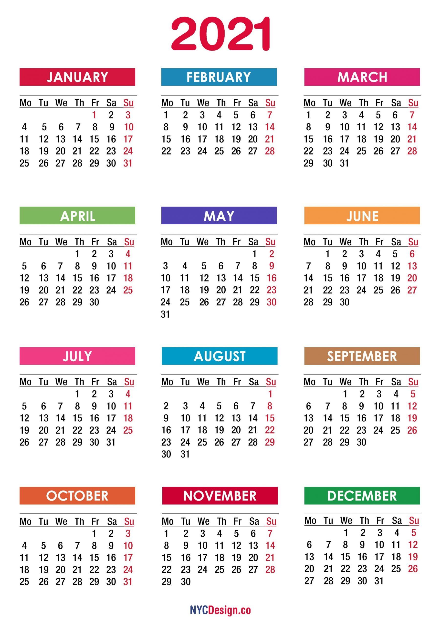 2021 Calendar Printable Free, Pdf, Colorful - Monday Start - Nycdesign.co   Calendars Printable Free regarding Calendar 2019 2021 2021 Printable Free Photo