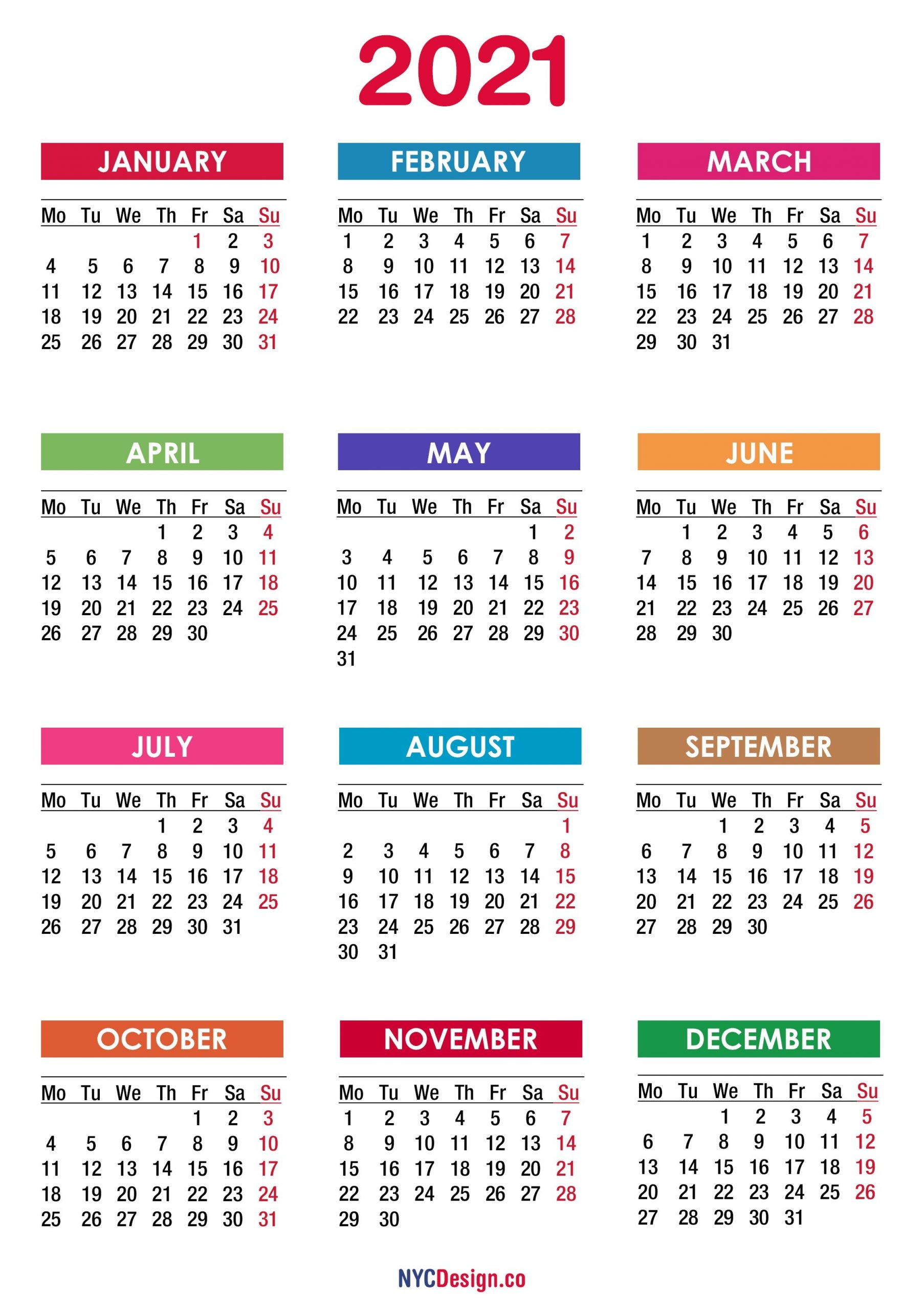 2021 Calendar Printable Free, Pdf, Colorful - Monday Start - Nycdesign.co | Calendars Printable Free with regard to Free Printable Calendar 2021