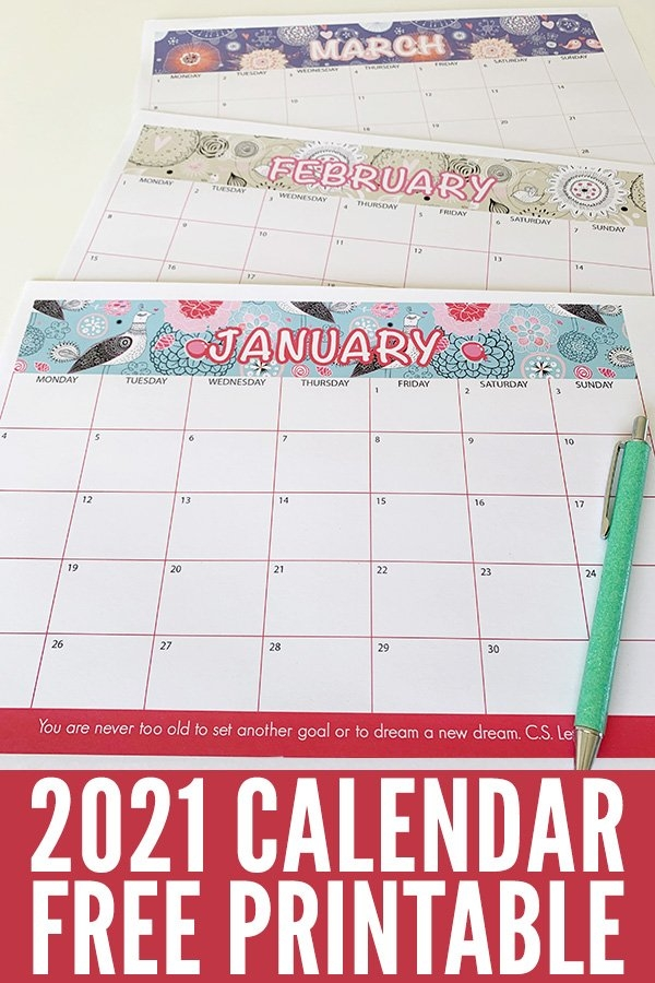 2021 Calendar Printable. Get Ready For An Amazing 2021! with Printable Daily Calendar 2021 Graphics