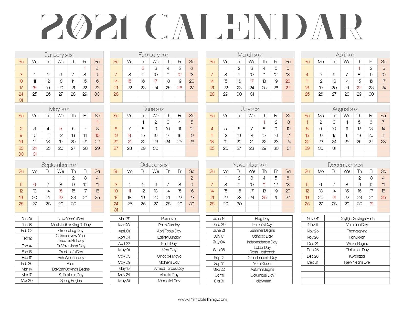 2021 Calendar Printable One Page, 2021 Calendar Printable Pdf with regard to One Page Photo Calendar 2021 Image