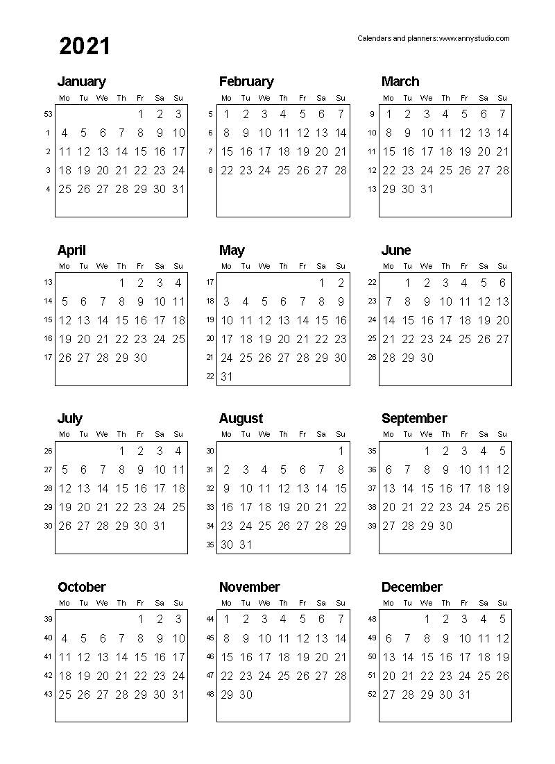 2021 Calendar Printable One Page - Template Calendar Design inside One Page2021 Calendar Printable Images Image