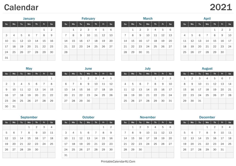 2021 Calendar Printable within Free Printable Calendar 2021 Graphics