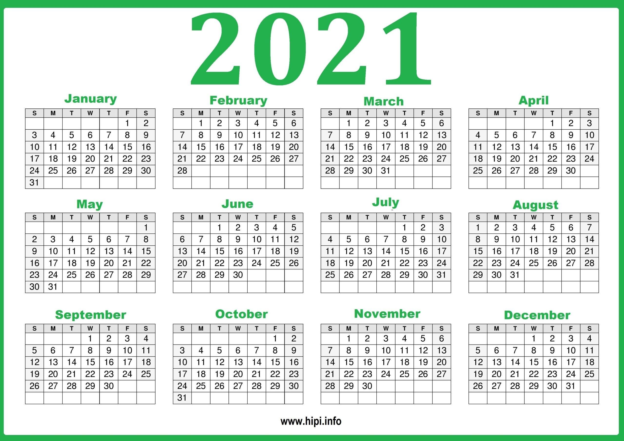 2021 Calendar Printable Yearly Template - Hipi | Calendars Printable Free within 2021 Calendar Printable Free Image