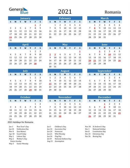 2021 Calendar - Romania With Holidays throughout Calendar Romania Zile Libere 2021