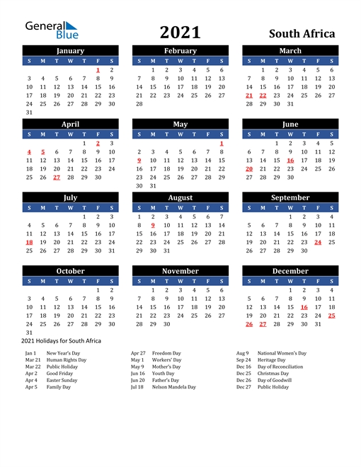 2021 Calendar - South Africa With Holidays in South Australia Calendar 2021 Graphics