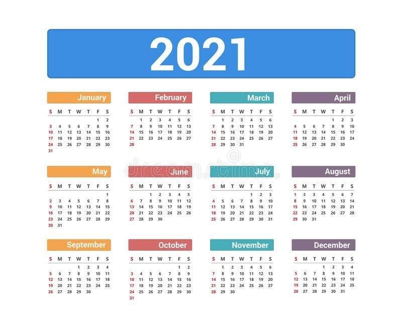 2021 Calendar Stock Vector. Illustration Of Organizer - 194007947 for Calendar 2021 Design In Illustrator Photo