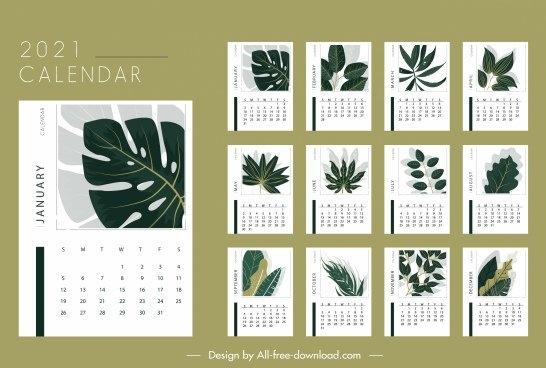 2021 Calendar Template Elegant Seasonal Plants Decor Free Vector In Adobe Illustrator Ai ( .Ai with Illustrator 2021 Calendar Template