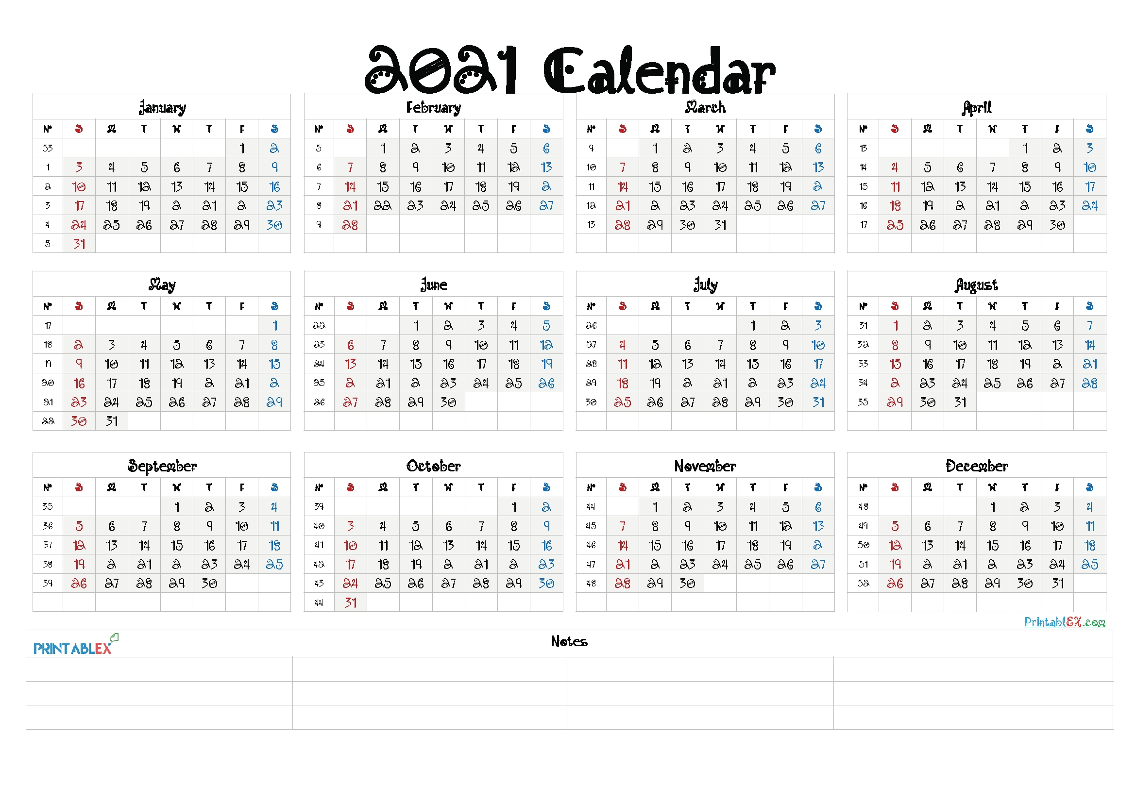 2021 Calendar Template Pdf, Word, Excel Free Download intended for 2021 Calendar Printable Free