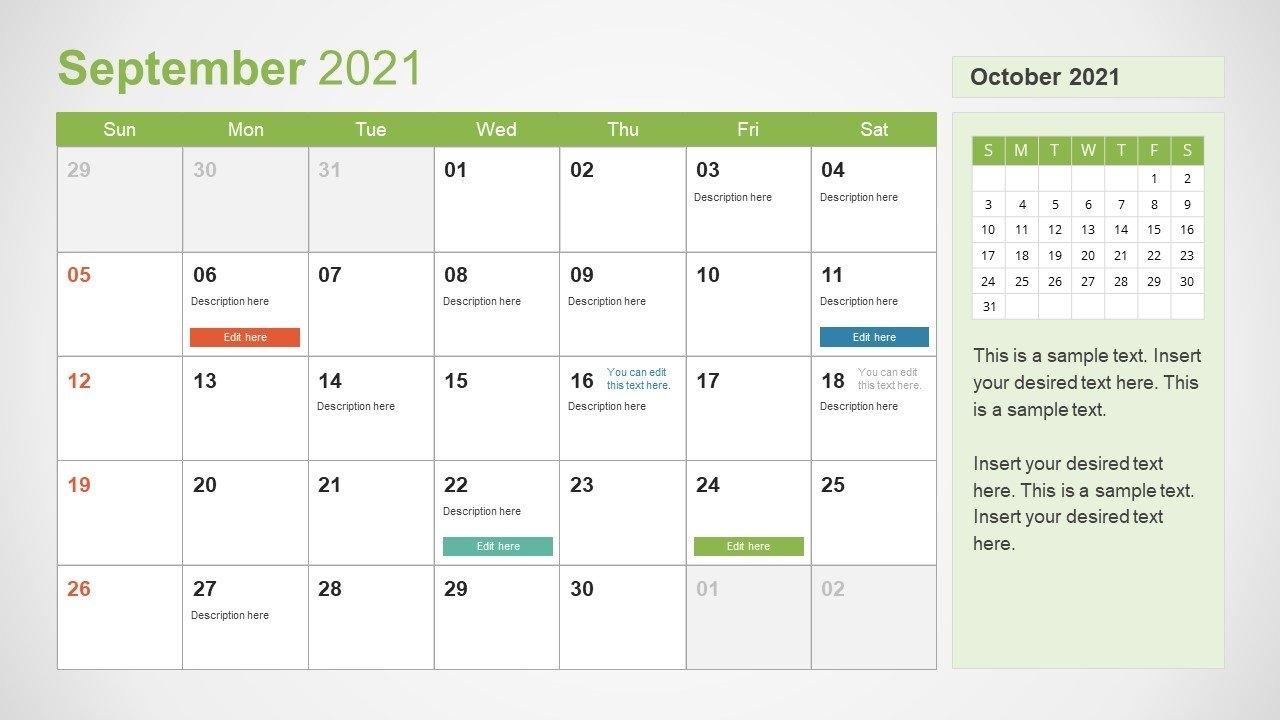 2021 Calendar Template September Powerpoint - Slidemodel with regard to Ppt Calendar Template 2021 Photo