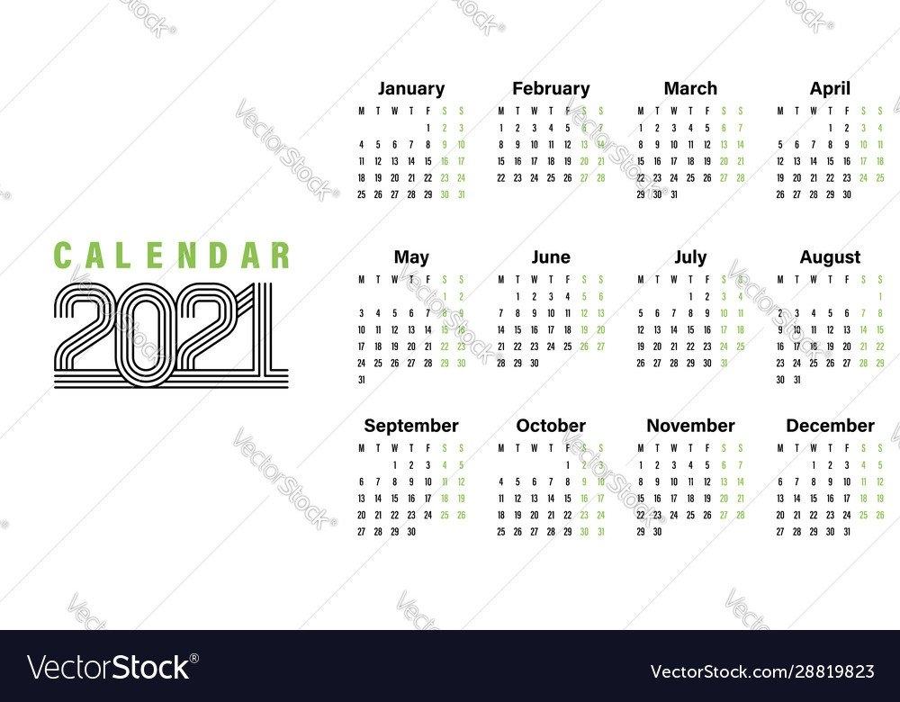 2021 Calendar Template Simple Design Royalty Free Vector pertaining to Google 2021 Calendar Printable Image