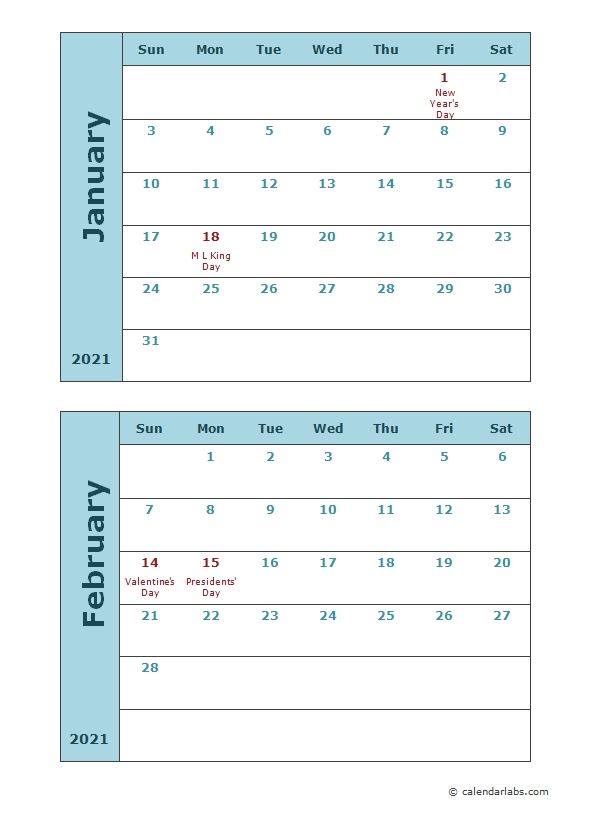2021 Calendar Template Two Months Per Page - Free Printable Templates within Sample One Page Multi Year Calendars