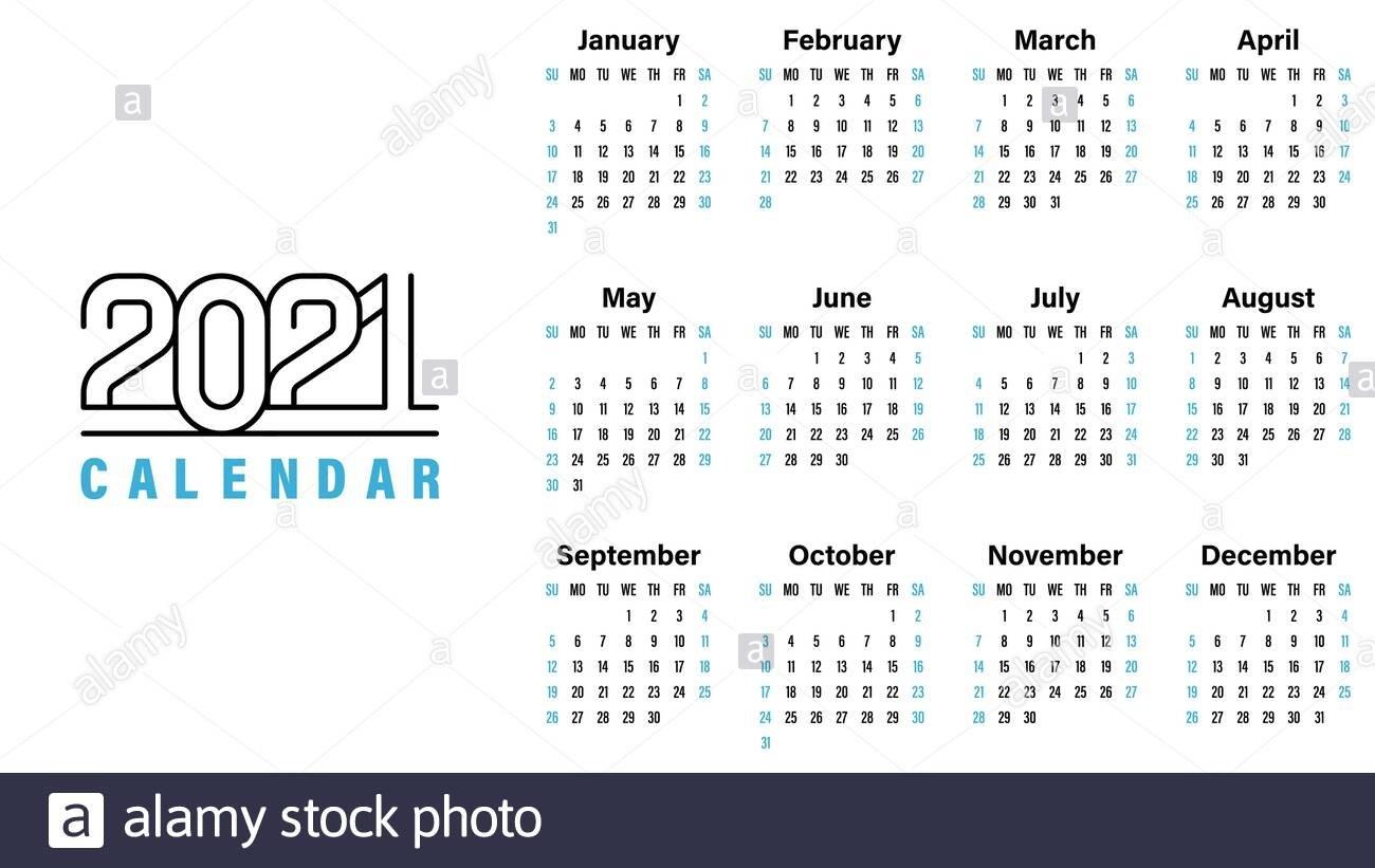 2021 Calendar Template Vector Illustration Simple Design Week Starts On Sunday Indicate Weekends regarding Calendar 2021 Design In Illustrator Photo