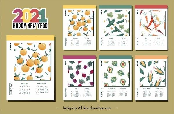 2021 Calendar Template Vegetables Fruits Theme Free Vector In Adobe Illustrator Ai ( .Ai inside 2021 Table Calendar Templates For Illustrator