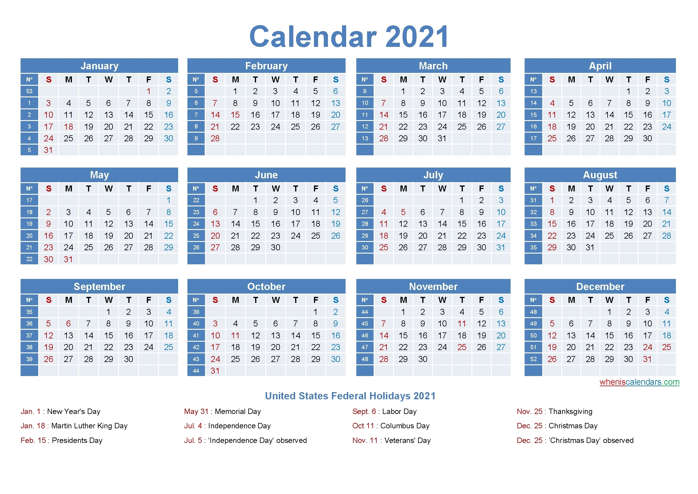 2021 Calendar Template With Numbered Weeks - Example Calendar Printable throughout Printable 2021 Monthly Calendar Template Image