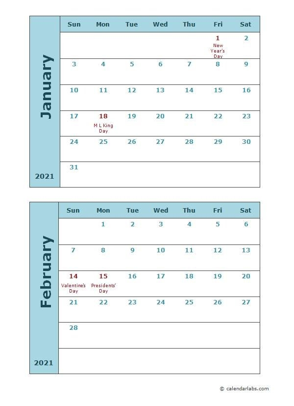 2021 Calendar Templates | Free, Editable, Pritable Templates with Two Year Calendar Template 2021 2021 Image