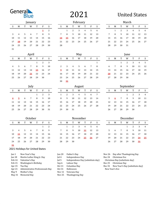 2021 Calendar - United States With Holidays with Free Printable 2021 Calendar Portrait Photo