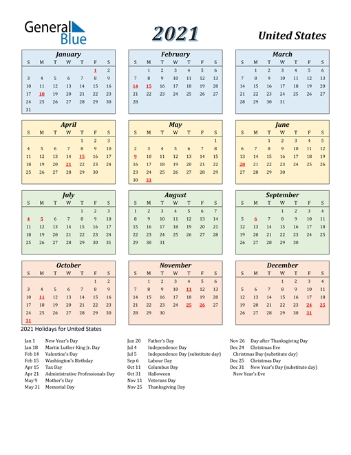 2021 Calendar - United States With Holidays with regard to Free Printable 2021 Calendar Portrait Photo