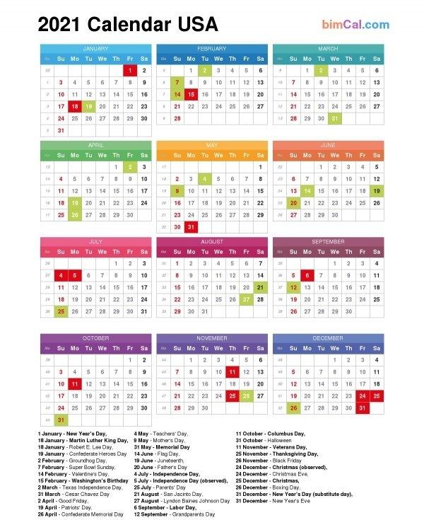 2021 Calendar Usa - Bimcal inside Calendario 2021 Italia Calendarpedia Photo