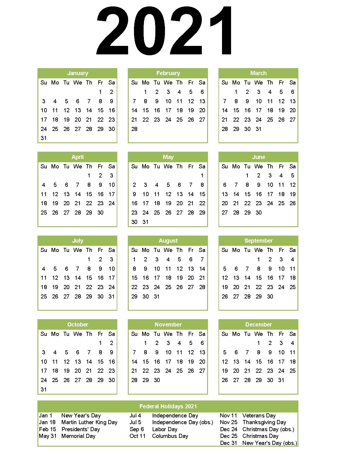 2021 Calendar With Holidays | Calendar 2021 in Printable Calendars For 2021
