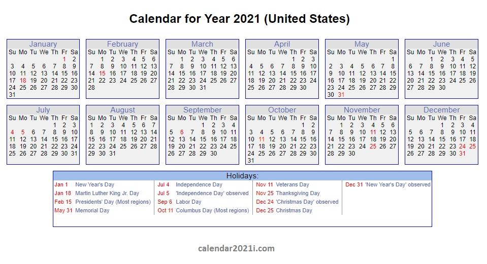 2021 Calendar With Holidays   Calendar 2021 with regard to Template Piano Feire 2021 Graphics
