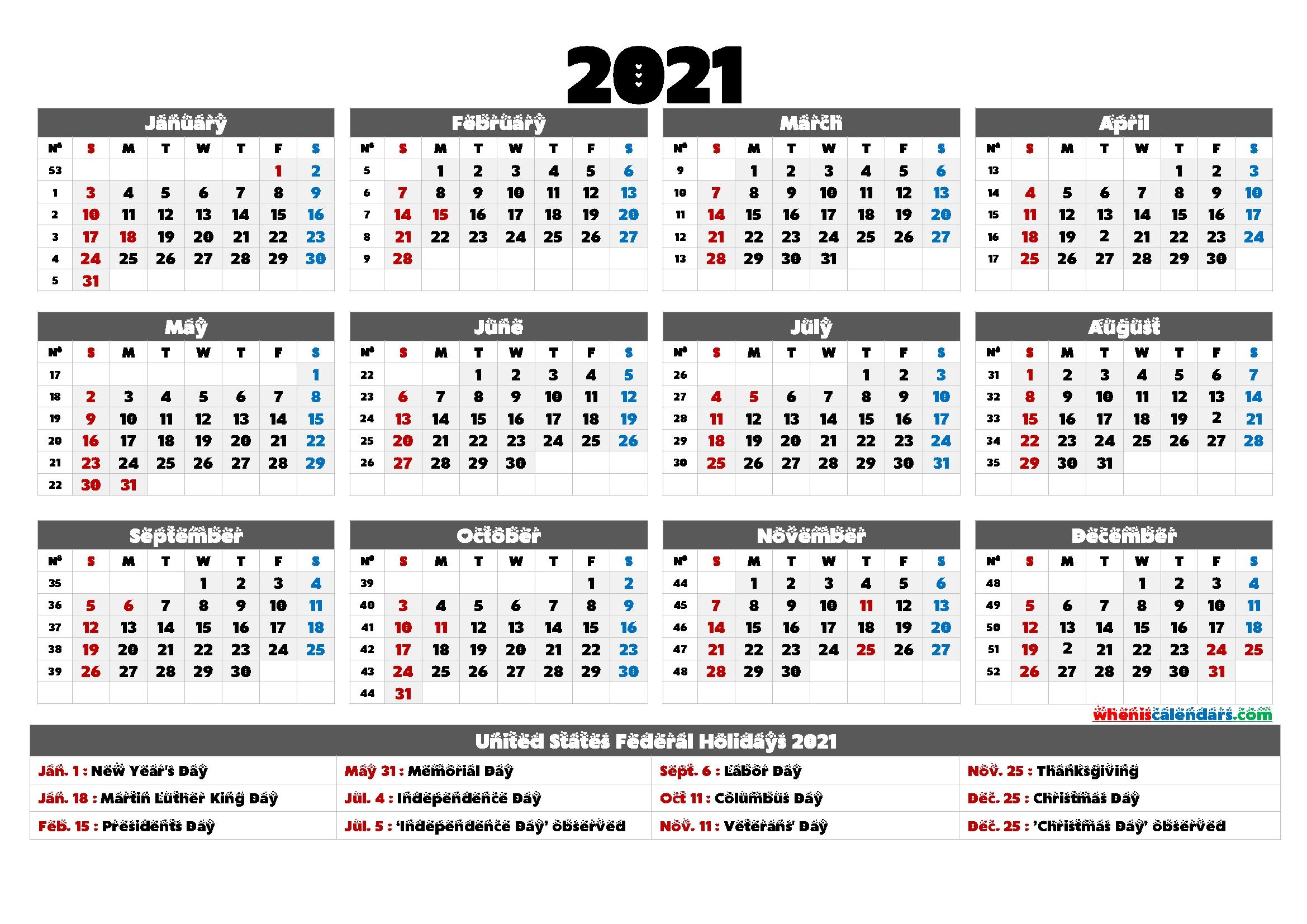 2021 Calendar With Holidays Printable - 6 Templates | Free Printable 2020 Calendar With Holidays for Illustrator 2021 Calendar Template