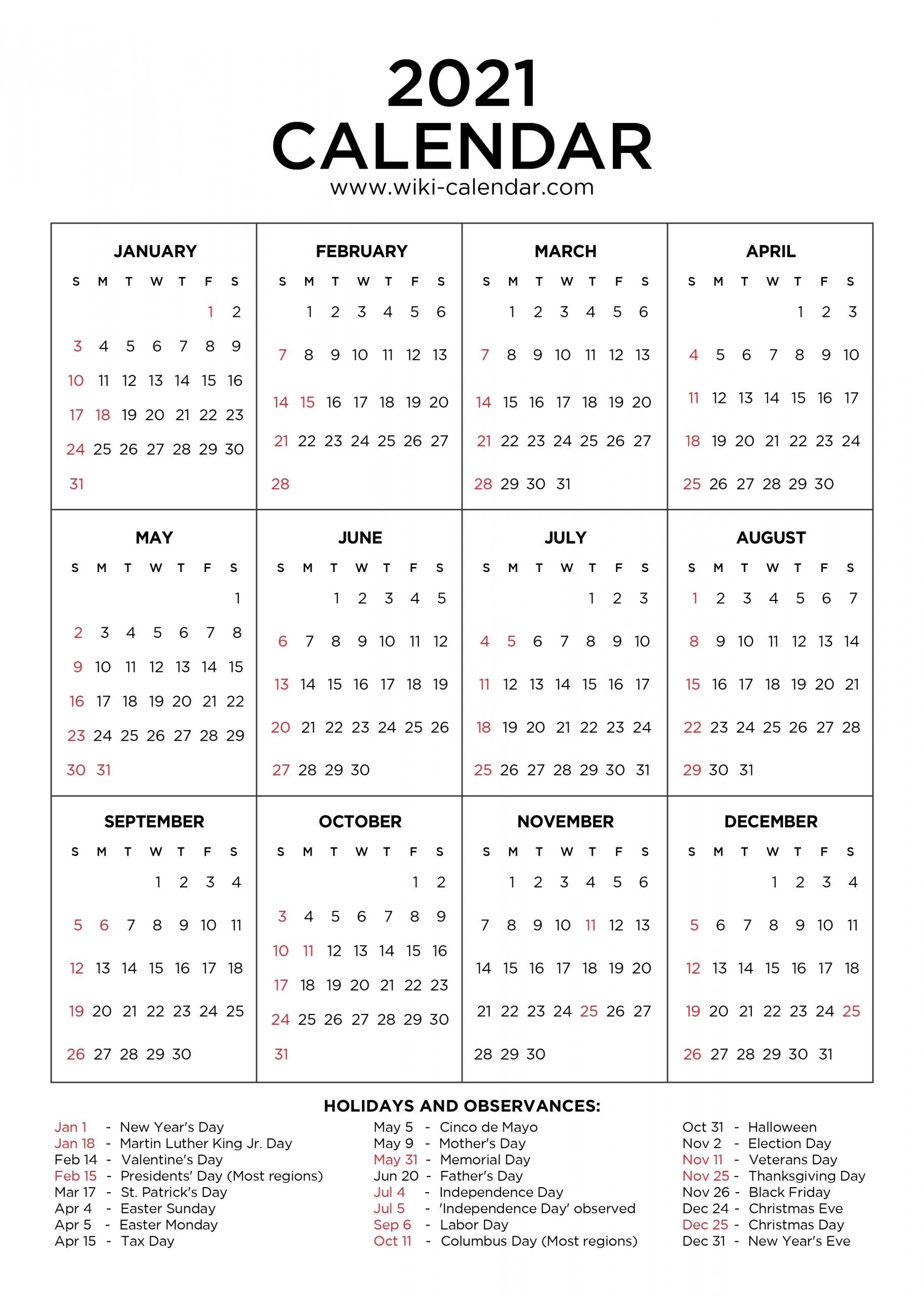 2021 Calendar With Holidays Printable | Calendar Template Printable in Free Calendar Template 2021 Printable With Lines