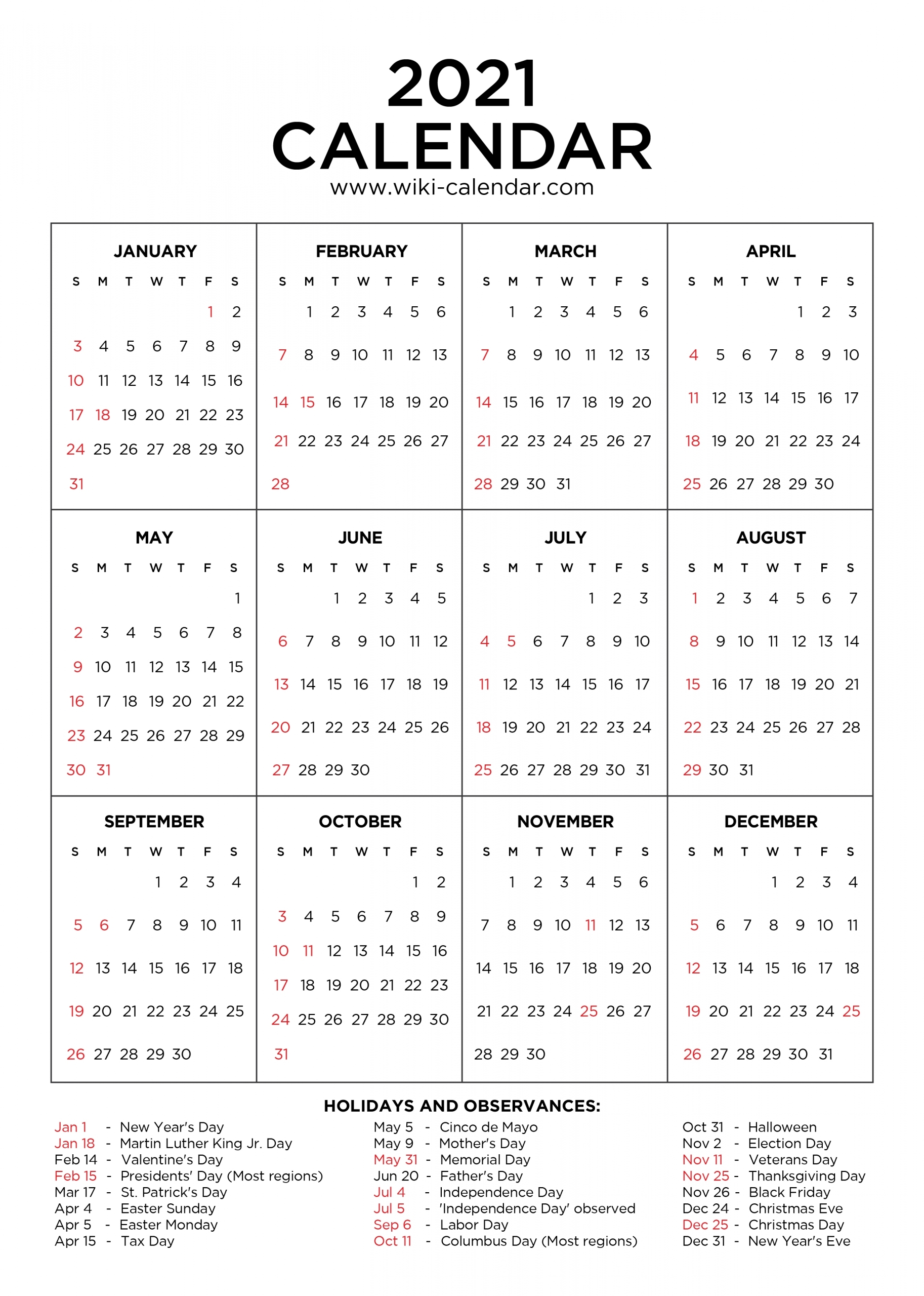 2021 Calendar With Holidays Printable | Calendar Template Printable pertaining to Free Printable Yearly Calendars 2021 Portrait