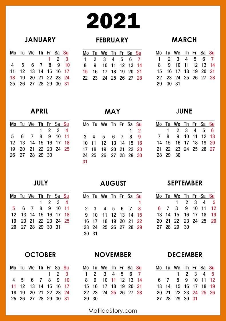 2021 Calendar With Holidays, Printable Free, Orange - Monday Start - Matildastory with regard to 2021 Calendar Printable Pdf Free Pay Date And Holiday