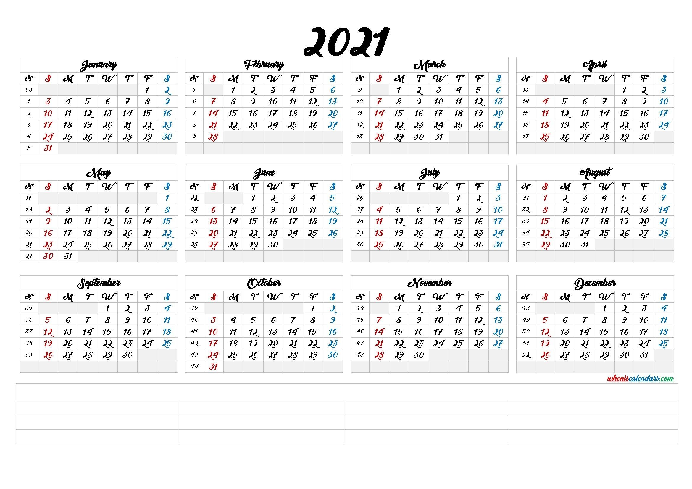 2021 Calendar With Week Number Printable Free : 2021 Yearly Business Calendar With Week Number with 2021 Yearly Calendar Template Printable