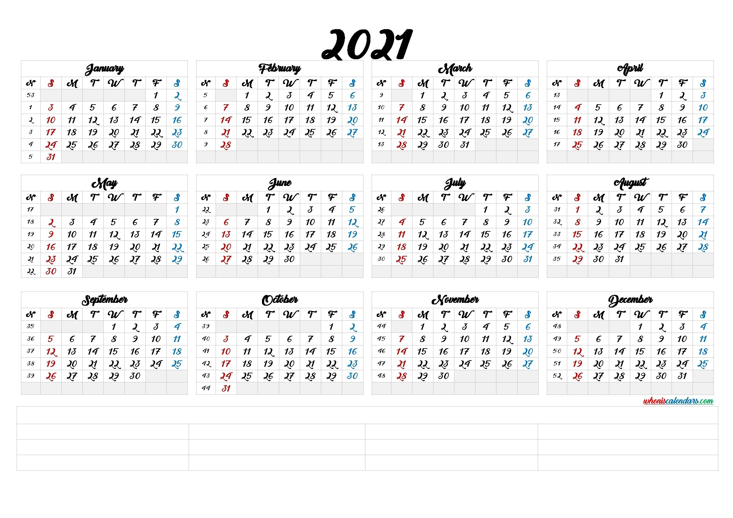 2021 Calendar With Week Number Printable Free : 2021 Yearly Business Calendar With Week Number with Free Printable Calendarlabs 2021