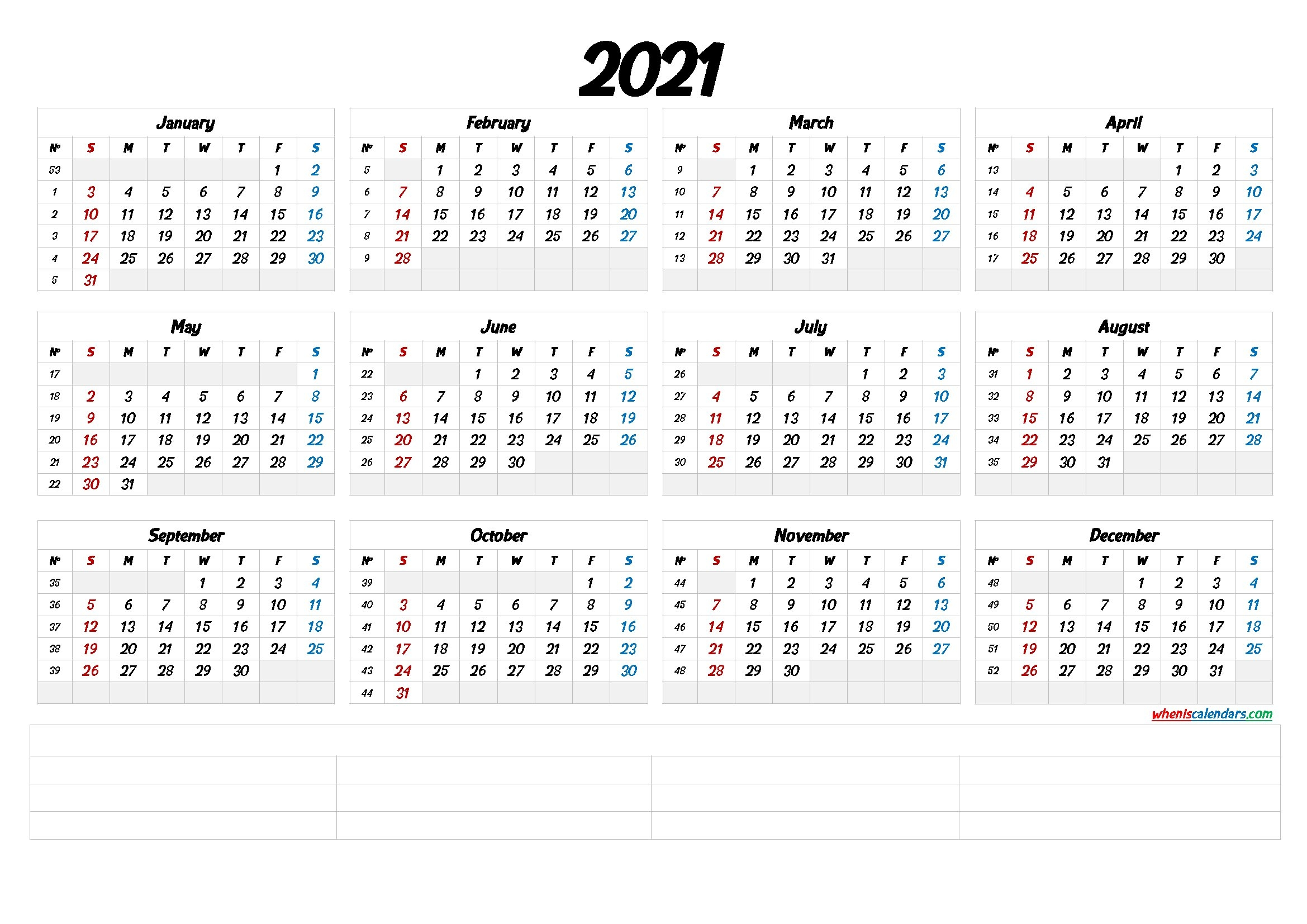 2021 Calendar With Week Numbers Printable (6 Templates) - Free Printable 2020 Monthly Calendar for Calendar With Numbered Days 2021 Photo